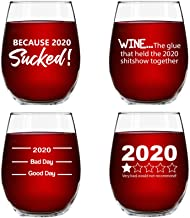 2020 Sucked Funny Stemless Wine Glasses 4 Pack- Hilarious Novelty Wine Glassware for Women- New Years Eve Party, Event, Hosting Fun- Cute Quarantine 2020 Do Not Recommend Survival Gift