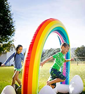 """HearthSong Giant Inflatable Rainbow Arch Sprinkler Water Toys Kids Outdoor Backyard Play 93""""L x 37""""W x 67""""H Ages 3 and Up"""