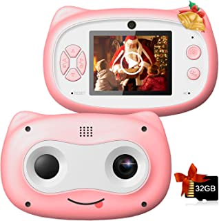 Kids Camera, 8 MP Digital Camera for Kids 3-10 Years Old, 1080P HD Shockproof Rechargeable Video Camera with 32GB Memory C...