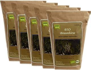 BIO Braunhirse Gemahlen | VORTEILSPACK 5 x 1.000 g | Vom Biohof Beck | Kalt-Vermahlen | Wildform | Urhirse