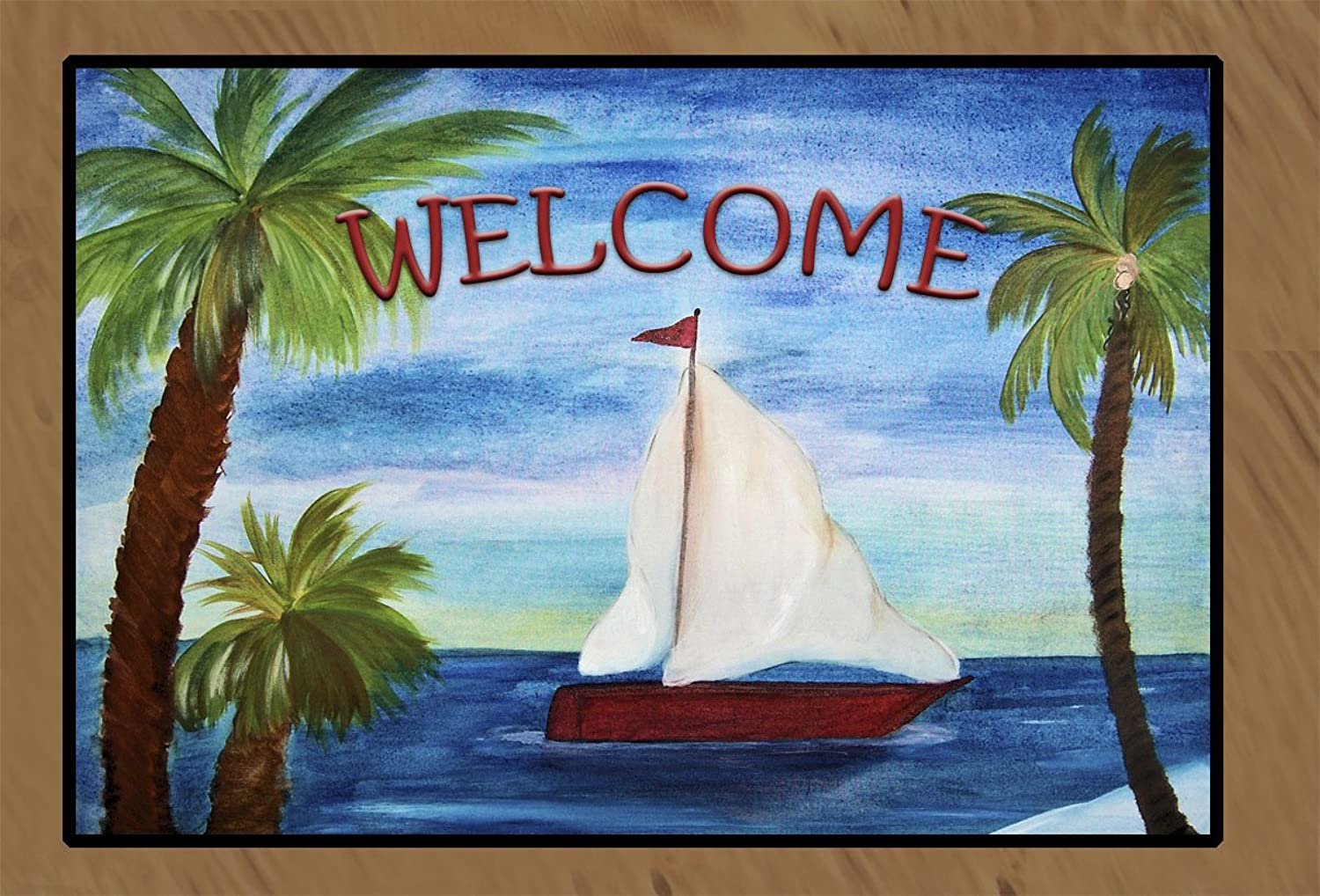 Red Sailboat Large Welcome Floor Mat