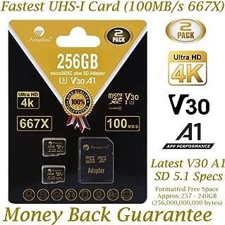 2-Pack 256GB Micro SD Card Plus Adapter - Amplim 256 GB MicroSD SDXC V30 A1 U3 Class 10 Ultra High Speed 100MB/s UHS-I TF XC MicroSDXC Memory Card for Cell Phone, Nintendo, Galaxy, Fire, Gopro Camera