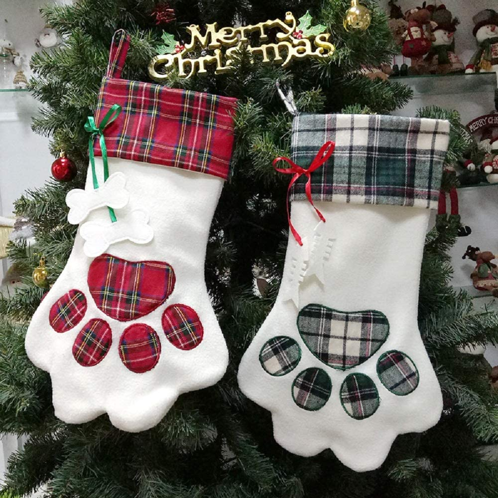 XONOR Christmas Stockings - 2Pcs Large Louisville-Jefferson County Mall Pet S Hanging Paw Pattern Popular products