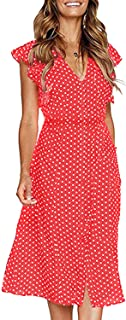 futurino Women's Sexy Summer Polka Dot Sleeveless V Neck Swing Dress