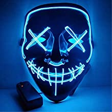 Moonideal Halloween Light Up Mask EL Wire Scary Mask for Halloween Festival Party Sound..