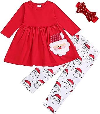 SEVEN YOUNG Christmas Outfits Kids Toddler Baby Girls Xmas Dress Shirt+Santa Print Pants Sets Fall Clothes