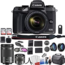 Canon EOS M5 Mirrorless Digital Camera with Canon 18-150mm Lens Bundle with EF-M 28mm f/3.5 Macro is STM Lens