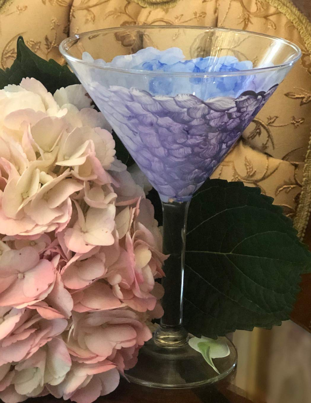 Martini Cocktail Cheap SALE Start Glass Hand Painted of Set low-pricing Hydrangea Blue 1