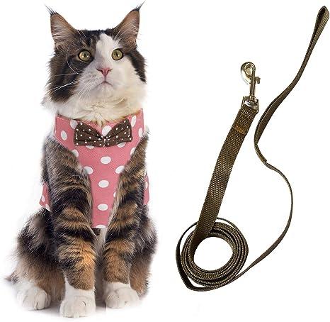 KATELUO Arnés y Correa para Gatos, Arnes Gato Ajustable, Arnés para Gatos Antiescape, a Prueba de Escapes, Gatos Pequeños Medianos (S, Rosa)