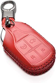 Vitodeco Genuine Leather Keyless Smart Key Fob Case Cover with Key Chain for Maserati Ghibli, Levante, Quattroporte (Remote Start, Red)