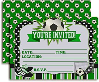 "Soccer Birthday Party Invitations, 20 5""x7"" Fill in Cards with Twenty White Envelopes by AmandaCreation"