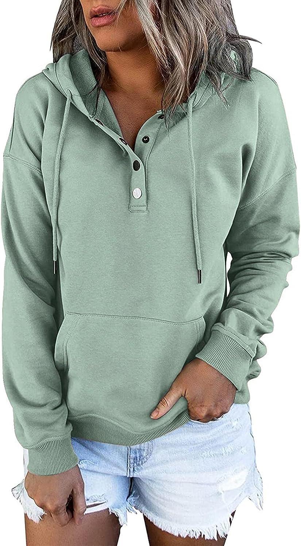 Masbird Fall Hoodies for Women Fashion Casual Button Down Long Sleeve Cool Hoodies Oversized Sweatshirts with Pocket