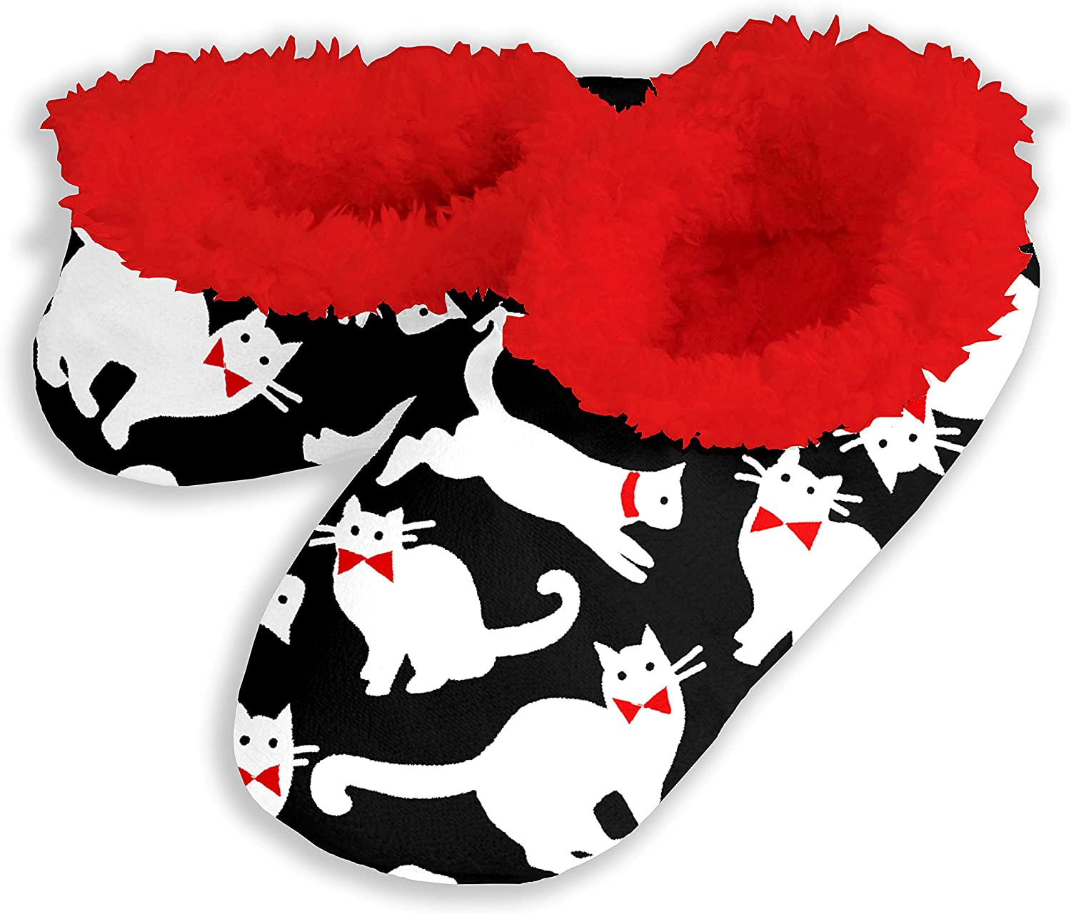 Snoozies Fleece Lined Footies Slippers for Women - Cats with Bowties