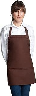 "Fiumara Apparel Classic Look Bib Apron with 3 pockets Poly Cotton - Espresso | 24""L X 28"" W |"