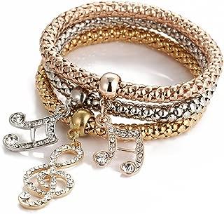 3Pcs Stretch Bracelets Set Gold/Silver/Rose Gold Plated Crystal Charms Bangle Bracelets for Women