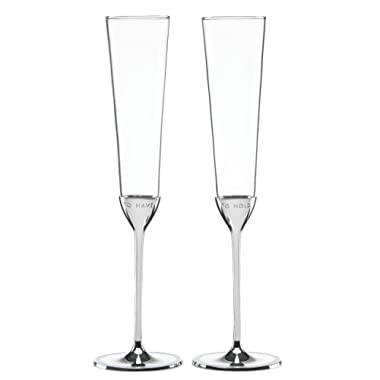 KATE SPADE Take The Cake 2-piece Champagne Flute Set, 1.00 LB, Clear