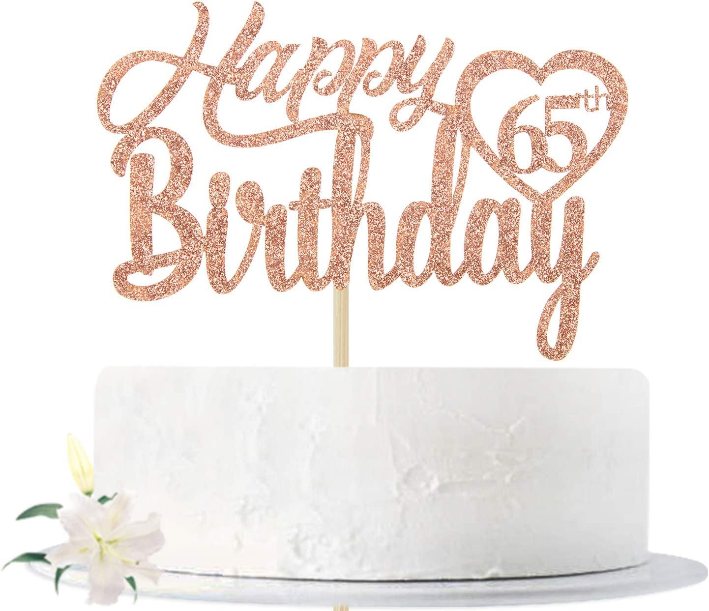 Rose Popular standard Gold cheap Glitter Happy 65th Birthday 65 Hello Che Topper Cake