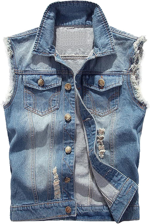 Kissonic Men's Casual Sleeveless Denim Vest Jacket Button Down Ripped Jean Waistcoat