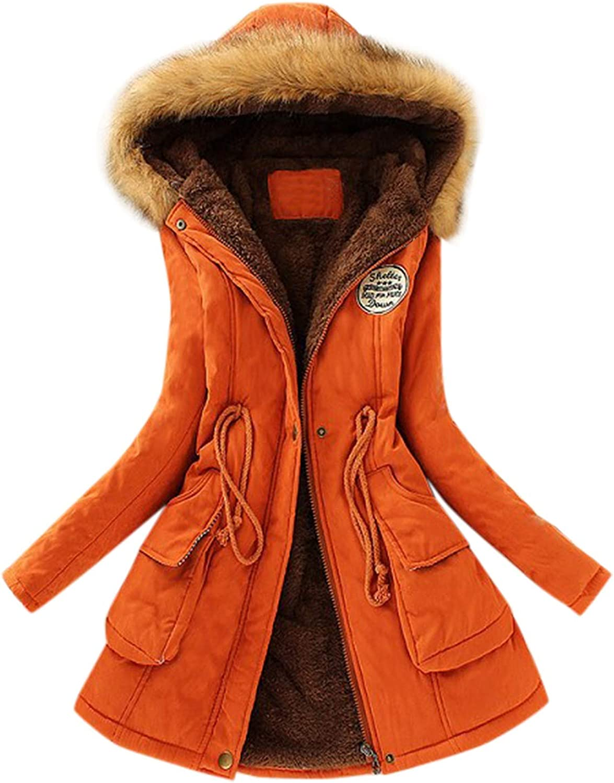 Eduavar Womens Ladies Fur Collar Parka Hoodie Long Sleeve Outwear Coat Tops Blouse Jacket S-XXXL