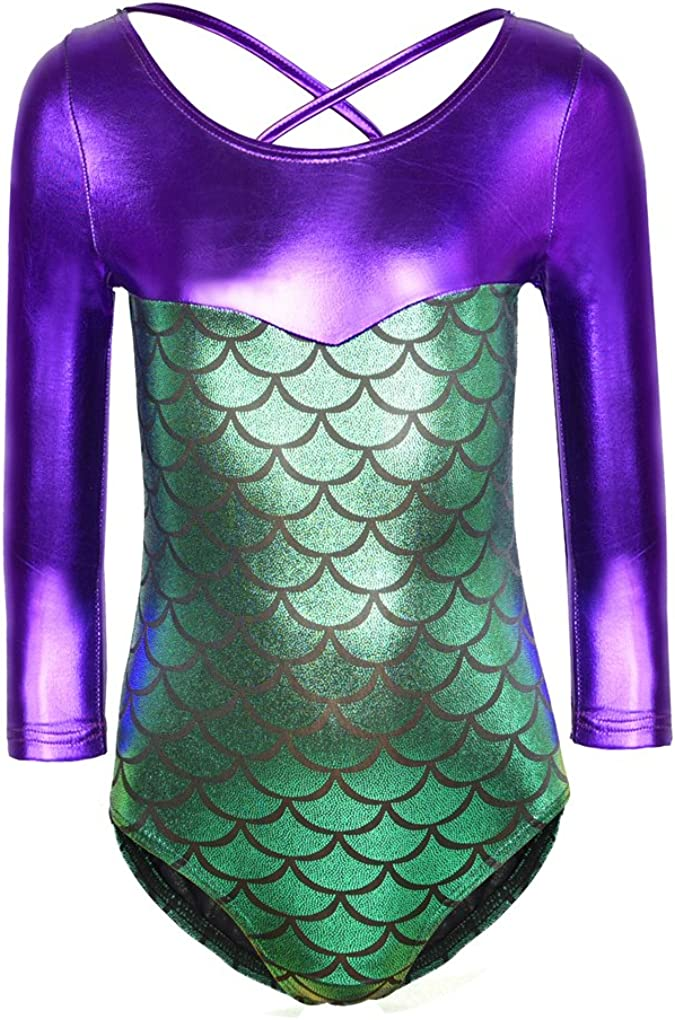 Ukyzddio Girls Beauty products Long Sleeve Fish Gorgeous Dance Metallic Scale Gy Athletic