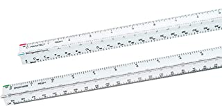 Architectural Scale Ruler and Engineer Scale Ruler Set - Two White Engraved Plastic Triangular Scale Rulers