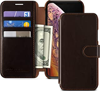 VRS DESIGN iPhone Xs Case, Drop Protection Cover Classy Slim Premium PU Leather Wallet [Dark Brown] ID Credit Card Slot Ho...