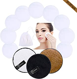 Reusable Makeup Remover Pads - Facial Cleansing Towels Organic Cotton Pads Bamboo Cotton Rounds Washable Makeup Remover Cloth Face Cloths Eye Makeup Remover with Laundry Bag(12Pack Black,White,Brown)
