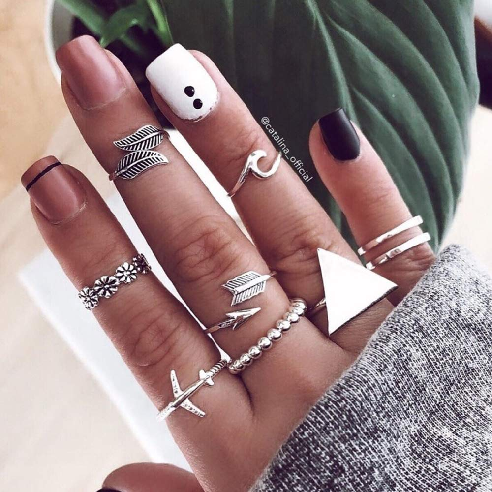 Missgrace Vintage Boho Rings Crystal Rhinestones Joint Knuckle Stackable Ring Set with Cresent Punk Snake Stacking Midi Finger Rings for Women and Girls (Style 2)