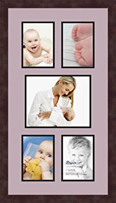 Art to Frames Double-Multimat-124-47R//89-FRBW26061 Collage Frame Photo Mat Double Mat with 2-5.5x8.5 and 1-8x10 Openings and Espresso Frame