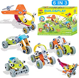 GGIENRUI 163pcs Build and Play Toys Construction Engineering Learning Building Blocks for 5 Years Old and up Boys Girls Birthday