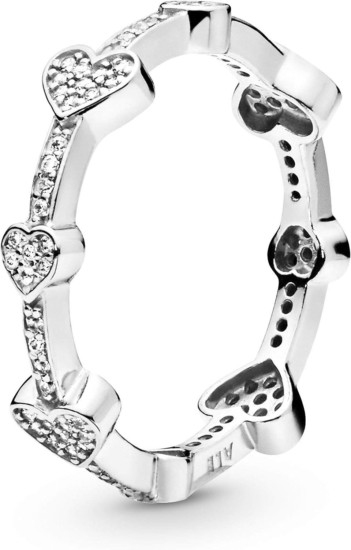 Pandora スーパーセール期間限定 Jewelry Alluring Hearts 格安 価格でご提供いたします Cubic Sterling in Zirconia Ring