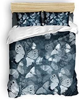 GreaBen 4 Pieces Duvet Cover Set Comfort Bed Sheet Set for Girls Boys,Hand Painted Butterfly Pattern Bedding Sets for Women Men,Include 1 Duvet Cover + 1 Bed Sheets + 2 Pillow Case Twin Size