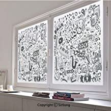 30x42 inch Window Privacy Film,Music Collection with an Abstract Drawing Rock Jazz Blues Metal Classic Dancing Non-Adhesive Static Cling Frosted Window Film,Window Stickers for Kids Home Office