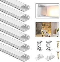 DazSpirit Led-profiel, 6 × 1 m, 6-delige set, aluminium profiel, U-vorm met witte melkachtige afdekking, eindkappen en mon...