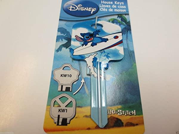 Stitch Sufing Key Kwikset KW1 House Key Blank Authentic Disney House Keys