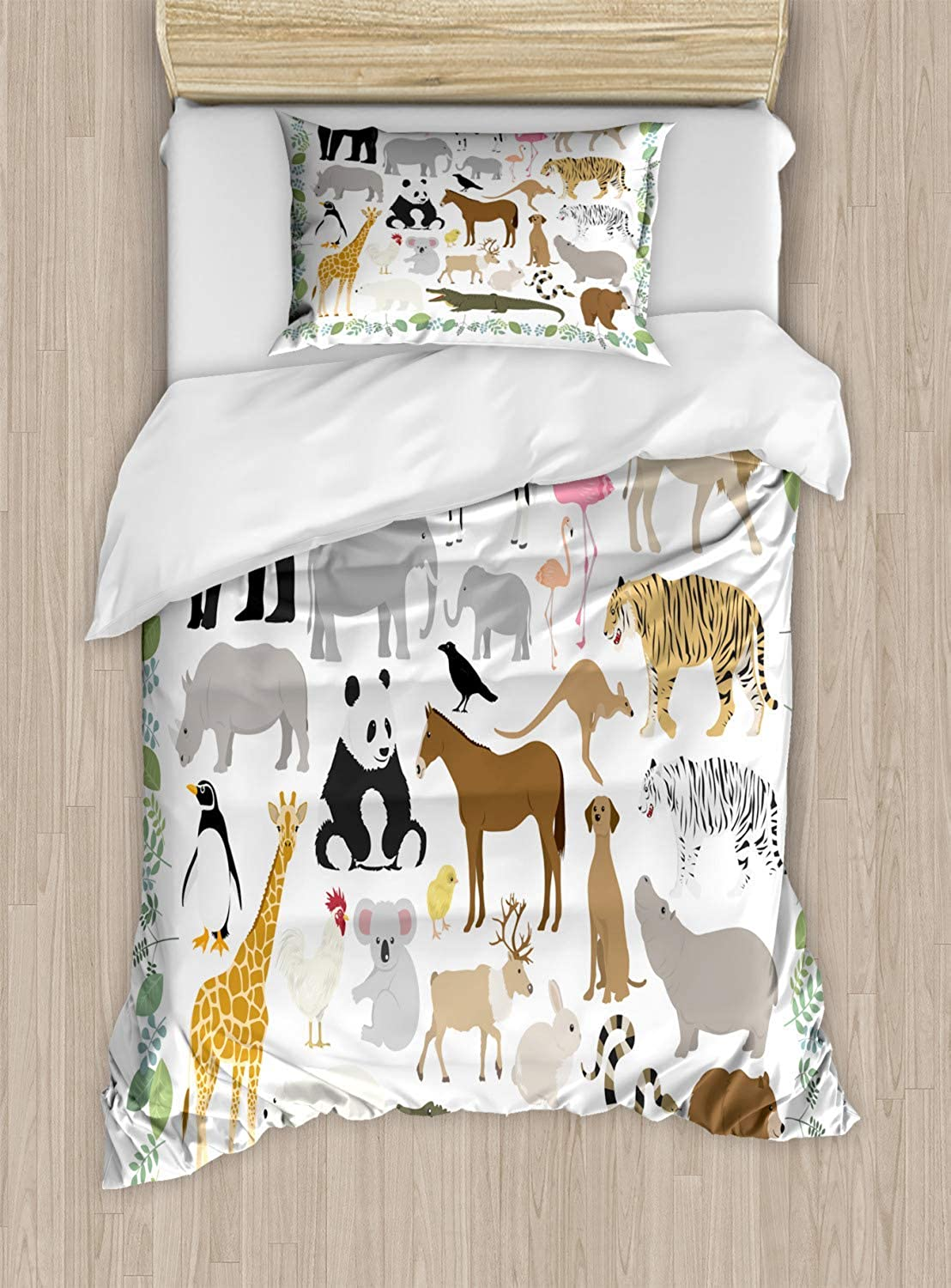VpinkLVHOME Animal Duvet Cover Set Twin Size,Various Forest Creatures with Leaves Around As Frame Design,Kids Bedding  Double Brushed Microfiber,Pale Olive Green and Multicolor