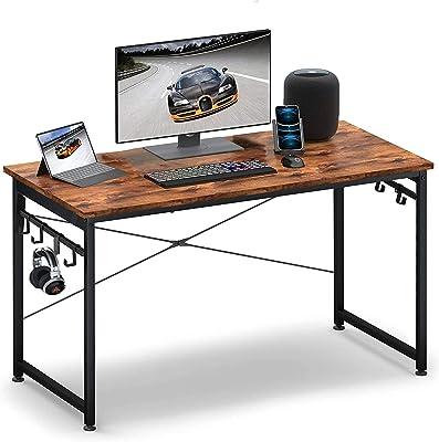 パソコンデスク 机 pcデスク シンプルワークデスク 幅100cmx奥行き60cmx高さ75cm 収納袋付き フック付き アジャスター付き 組み立て簡単 収納力 耐荷重70kg テレワーク オフィスデスク (フックのみ)
