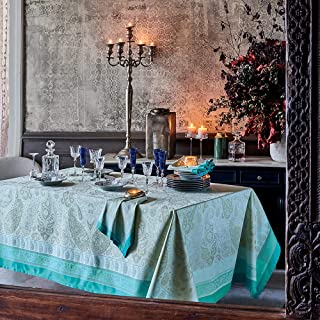 Garnier-Thiebaut - Nappe Antitache - Pondichery Lagon - 100% Pur Coton
