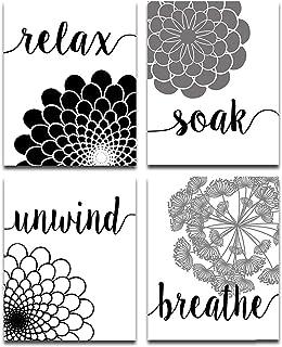 Unframed Set of Four Photos (8x10) Bath Flowers Art Print - Makes a Great Gift Under $15 for Bathroom Decor