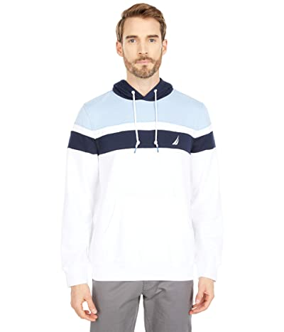 Nautica Color-Block Fleece Hoodie (Bright White) Men