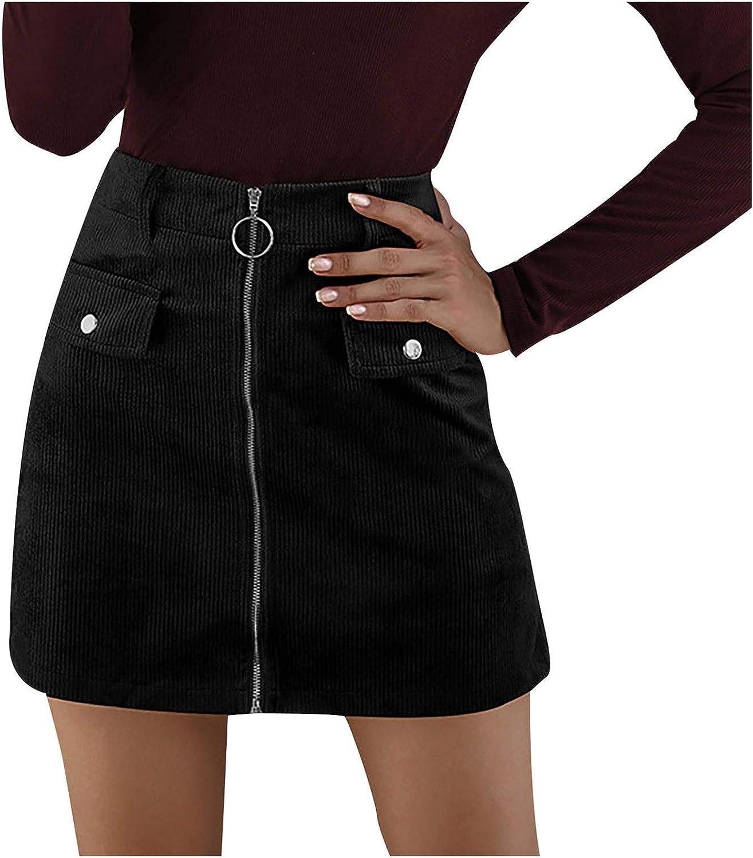 Meisiqw Fashion Women Solid Corduroy Zipper High Waist Skirt Casual Short Mini Skirt