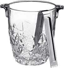 Bormioli Rocco Dedalo Ice Bucket With Stainless Steel Tongs   Etched, Star-Cut Design Italian Glass Bucket [30.50 oz]   Dishwasher-Safe & Perfect For Your Home Bar