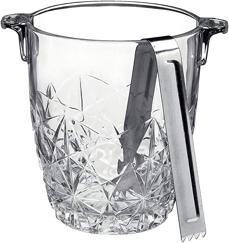 Bormioli Rocco Dedalo Ice Bucket With Stainless Steel Tongs Etched Star Cut Design Italian Glass Bucket 30 50 Oz Dishwasher Safe Perfect For Your Home Bar