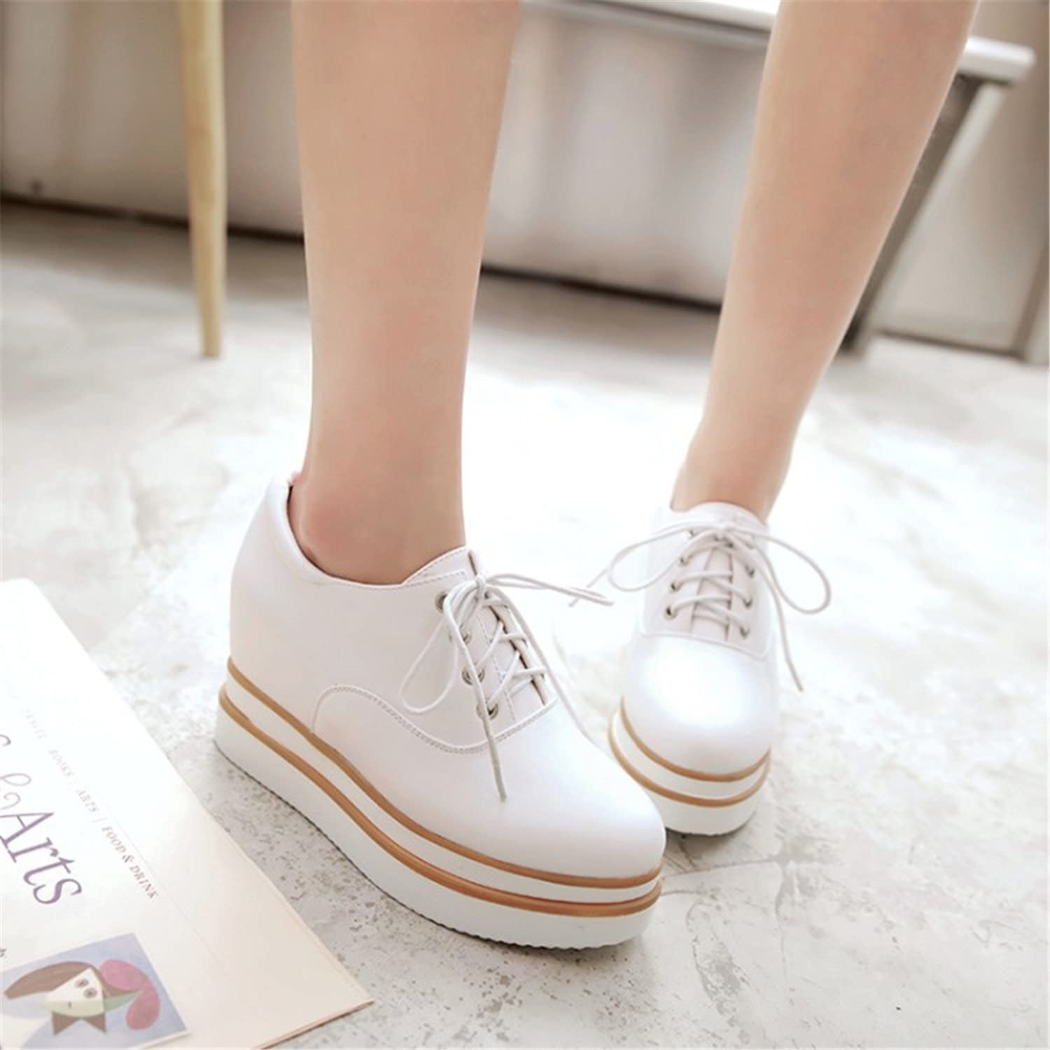 Dahanyi Stylish High Heel Wedges shoes Platform Women Lace up Casual shoes Sexy Women shoes Fall Winter Height Increasing shoes Big Size