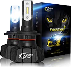 Cougar Motor H4 Led headlight bulb, 9600Lm 6500K (9003 High/Low) Fanless Conversion Kit - 3D Bionic Technology, 360°Adjustable Beam