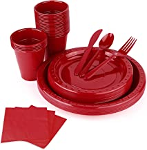 FULING Disposable Tableware Plastic Cutlery Red 5-Sets, With Sliver Cups, Knife, Fork, Spoon Ideal For Wedding, Catering E...