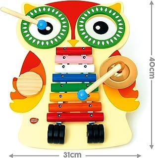 Mesa de música de madera, xilófono, 2 tambores, platillo, güiro, 2 baquetas. Glockenspiel / xilófono, con forma de Búho