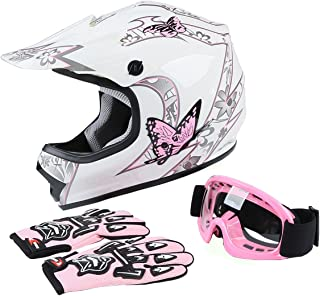 TCT-MT DOT Helmet+Goggles +Gloves Youth Kids Helmet Pink Butterfly Dirt Bike Motocross Offroad Street Helmet Motorcycle (Large)