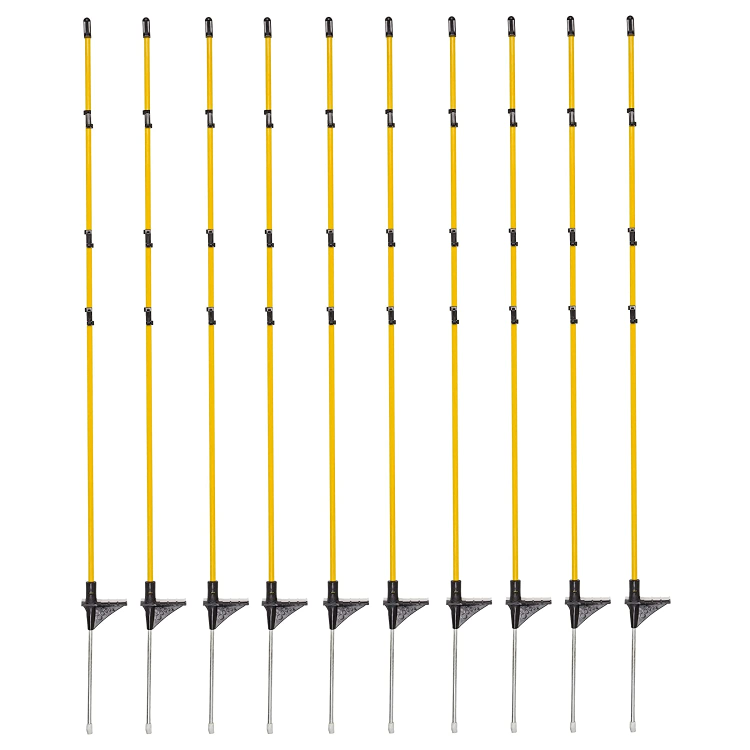 Fiberglass Step in Fence Posts 46 inch(10) Electric Fence Posts, Temporary Fence Stakes for Dog Fence, Snow Fence, Garden Protection. Portable Fence Ideal for Temporary Fencing or Electric Fencing