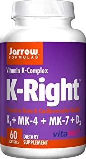 Jarrow Formulas K-Right, Promotes Bone & Cardiovascular Health, Vitamin K-Complex, 60 Softgels